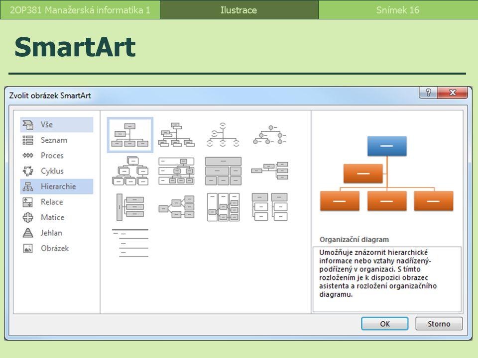 SmartArt IlustraceSnímek 162OP381 Manažerská informatika 1