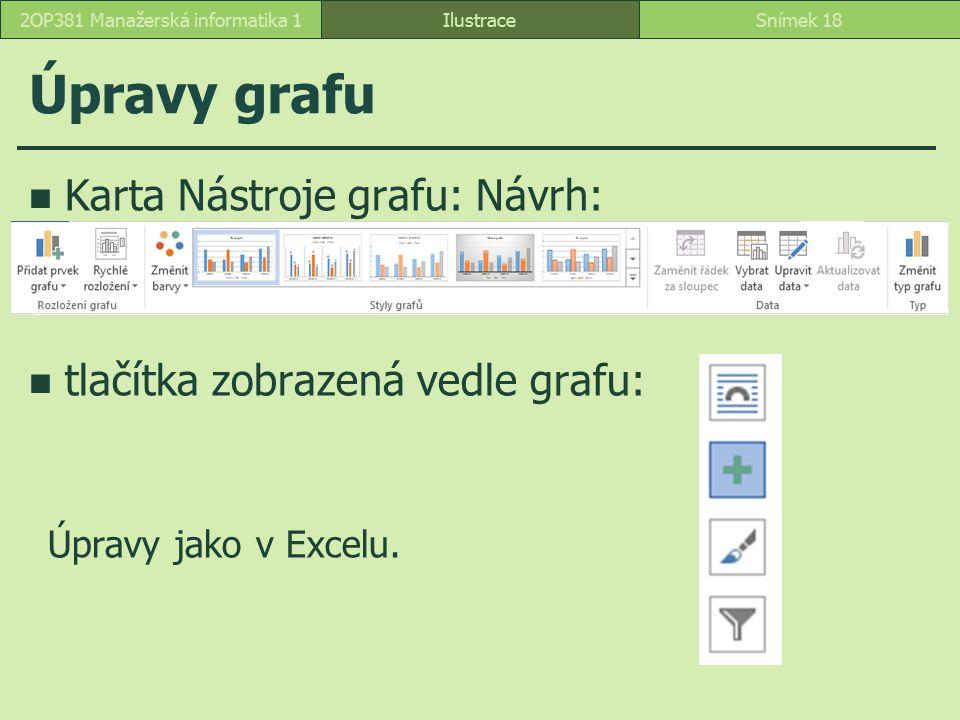 Úpravy grafu IlustraceSnímek 182OP381 Manažerská informatika 1 Karta Nástroje grafu: Návrh: tlačítka zobrazená vedle grafu: Úpravy jako v Excelu.