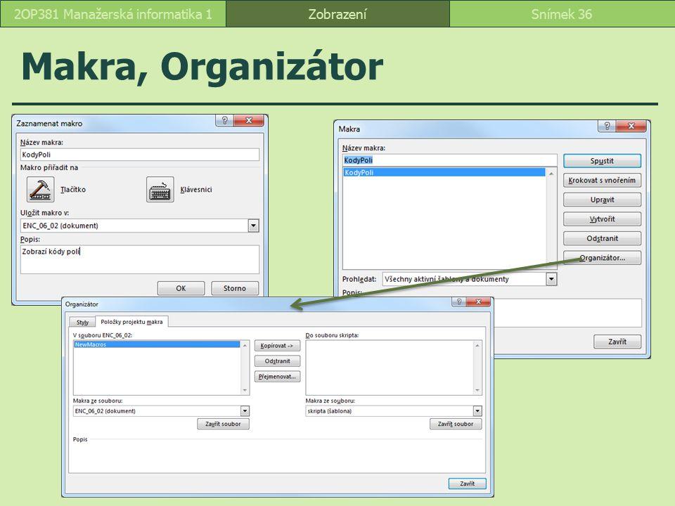 Makra, Organizátor ZobrazeníSnímek 362OP381 Manažerská informatika 1