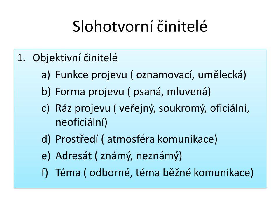 Slohotvorní činitelé 1.Objektivní činitelé a)Funkce projevu ( oznamovací, umělecká) b)Forma projevu ( psaná, mluvená) c)Ráz projevu ( veřejný, soukromý, oficiální, neoficiální) d)Prostředí ( atmosféra komunikace) e)Adresát ( známý, neznámý) f)Téma ( odborné, téma běžné komunikace) 1.Objektivní činitelé a)Funkce projevu ( oznamovací, umělecká) b)Forma projevu ( psaná, mluvená) c)Ráz projevu ( veřejný, soukromý, oficiální, neoficiální) d)Prostředí ( atmosféra komunikace) e)Adresát ( známý, neznámý) f)Téma ( odborné, téma běžné komunikace)