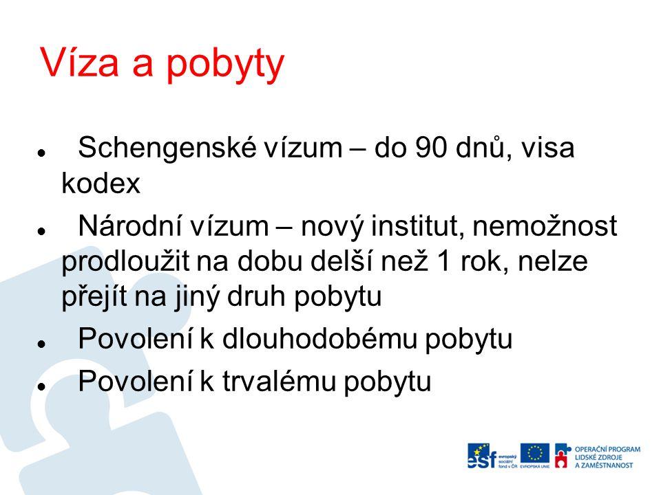 Víza a pobyty Schengenské vízum – do 90 dnů, visa kodex Národní vízum – nový institut, nemožnost prodloužit na dobu delší než 1 rok, nelze přejít na j