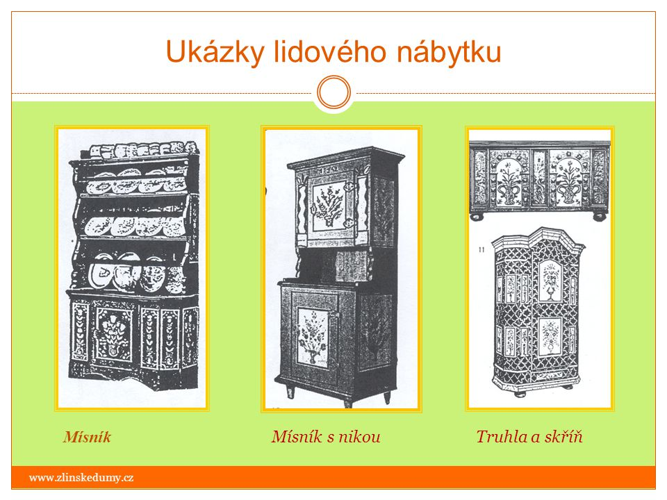 Ukázky lidového nábytku www.zlinskedumy.cz Ukázky tvarů opěradel selských židlí a používaných lidových motivů