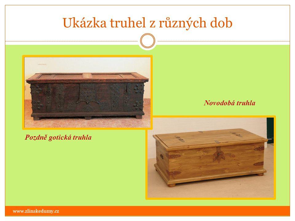 Ukázka truhel z různých dob www.zlinskedumy.cz Pozdně gotická truhla Novodobá truhla
