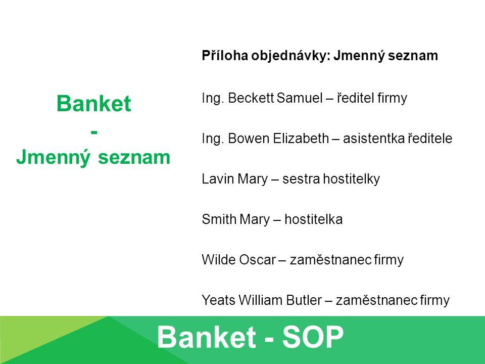 Banket - Jmenný seznam Příloha objednávky: Jmenný seznam Ing. Beckett Samuel – ředitel firmy Ing. Bowen Elizabeth – asistentka ředitele Lavin Mary – s
