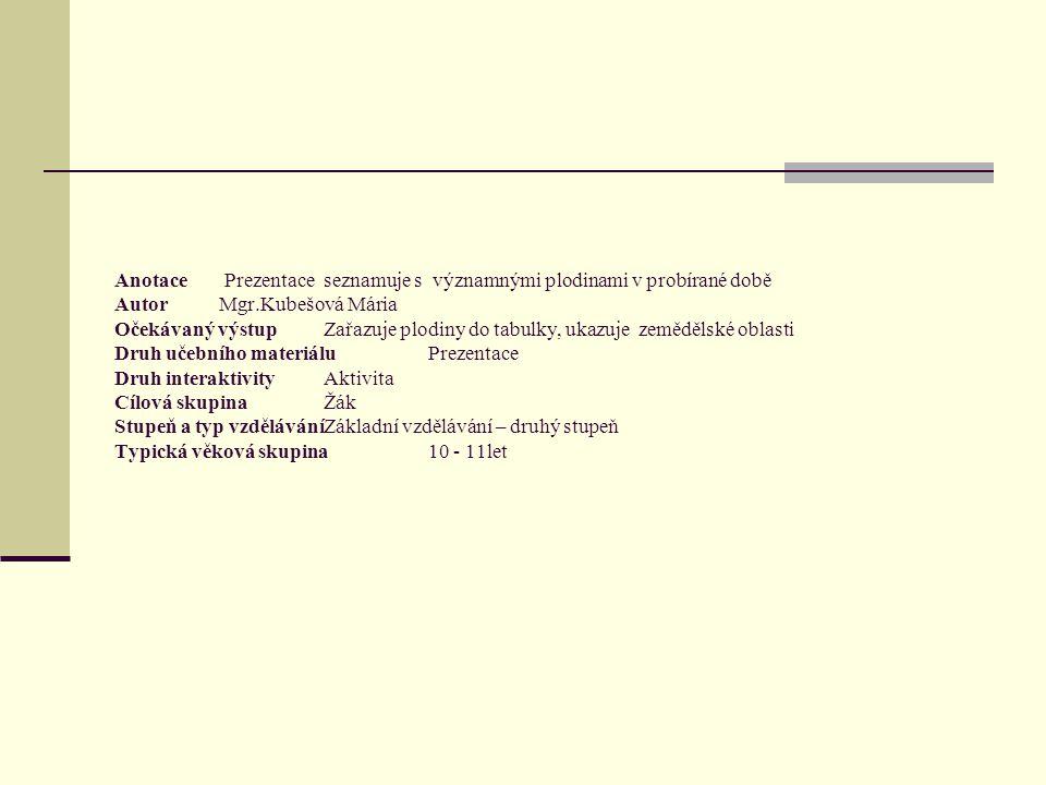 Anotace Prezentace seznamuje s významnými plodinami v probírané době AutorMgr.Kubešová Mária Očekávaný výstupZařazuje plodiny do tabulky, ukazuje zemědělské oblasti Druh učebního materiáluPrezentace Druh interaktivityAktivita Cílová skupinaŽák Stupeň a typ vzděláváníZákladní vzdělávání – druhý stupeň Typická věková skupina10 - 11let