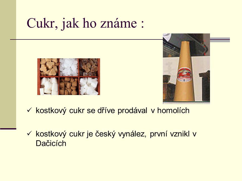 Cukr, jak ho známe : kostkový cukr se dříve prodával v homolích kostkový cukr je český vynález, první vznikl v Dačicích