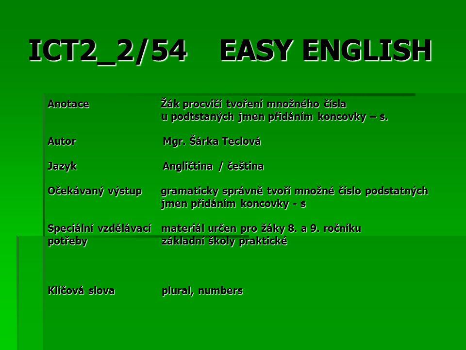 EASY ENGLISH Druh učebního Prezentace materiálu Druh interaktivity Aktivita / Práce s textem Cílová skupina Žák Stupeň a typ základní vzdělávání – druhý vzdělávání stupeň Typická věková 13 – 14 let skupina Celková velikost 706 kB