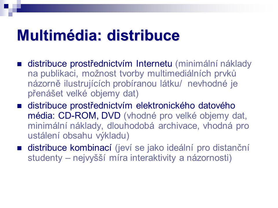 Multimédia: distribuce distribuce prostřednictvím Internetu (minimální náklady na publikaci, možnost tvorby multimediálních prvků názorně ilustrujícíc