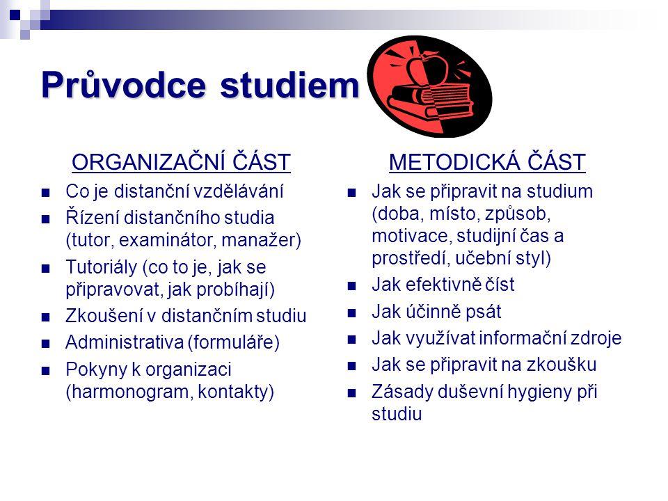 Průvodce studiem ORGANIZAČNÍ ČÁST Co je distanční vzdělávání Řízení distančního studia (tutor, examinátor, manažer) Tutoriály (co to je, jak se připra