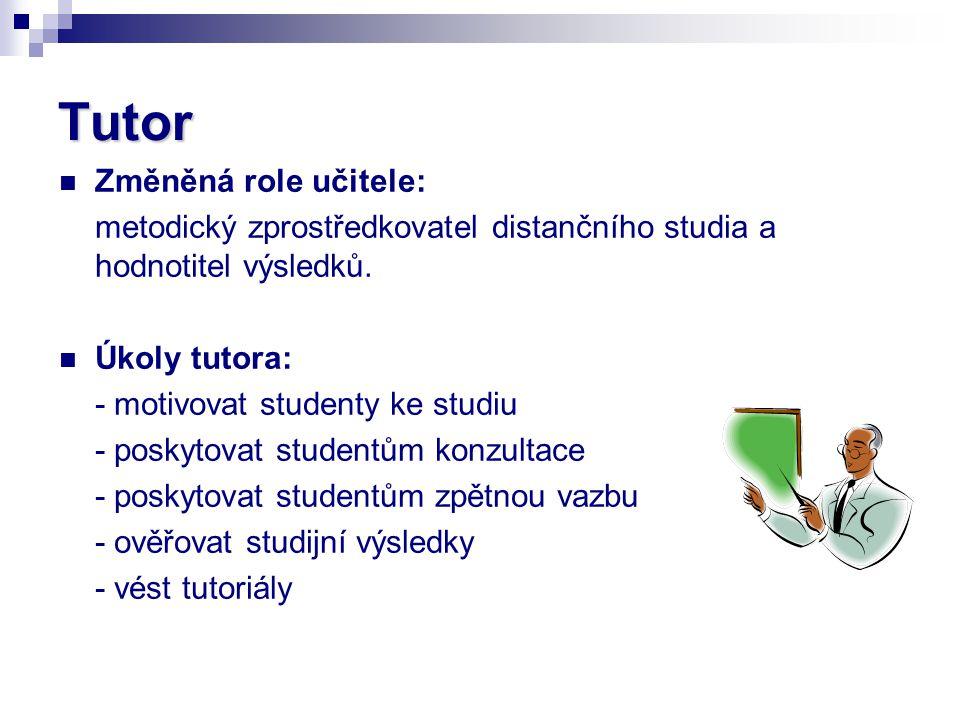 Tutor Změněná role učitele: metodický zprostředkovatel distančního studia a hodnotitel výsledků. Úkoly tutora: - motivovat studenty ke studiu - poskyt