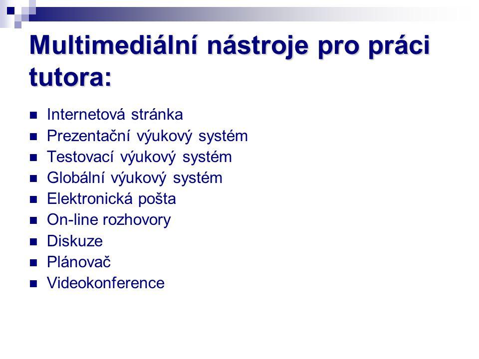 Multimediální nástroje pro práci tutora: Internetová stránka Prezentační výukový systém Testovací výukový systém Globální výukový systém Elektronická