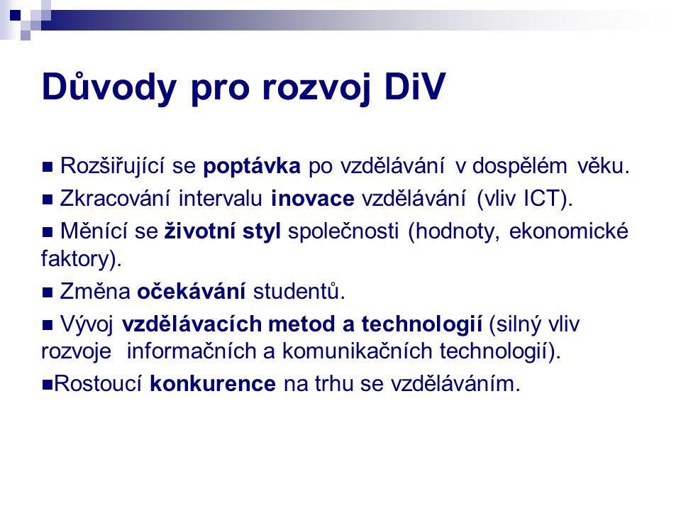 Důvody pro rozvoj DiV Rozšiřující se poptávka po vzdělávání v dospělém věku. Zkracování intervalu inovace vzdělávání (vliv ICT). Měnící se životní sty