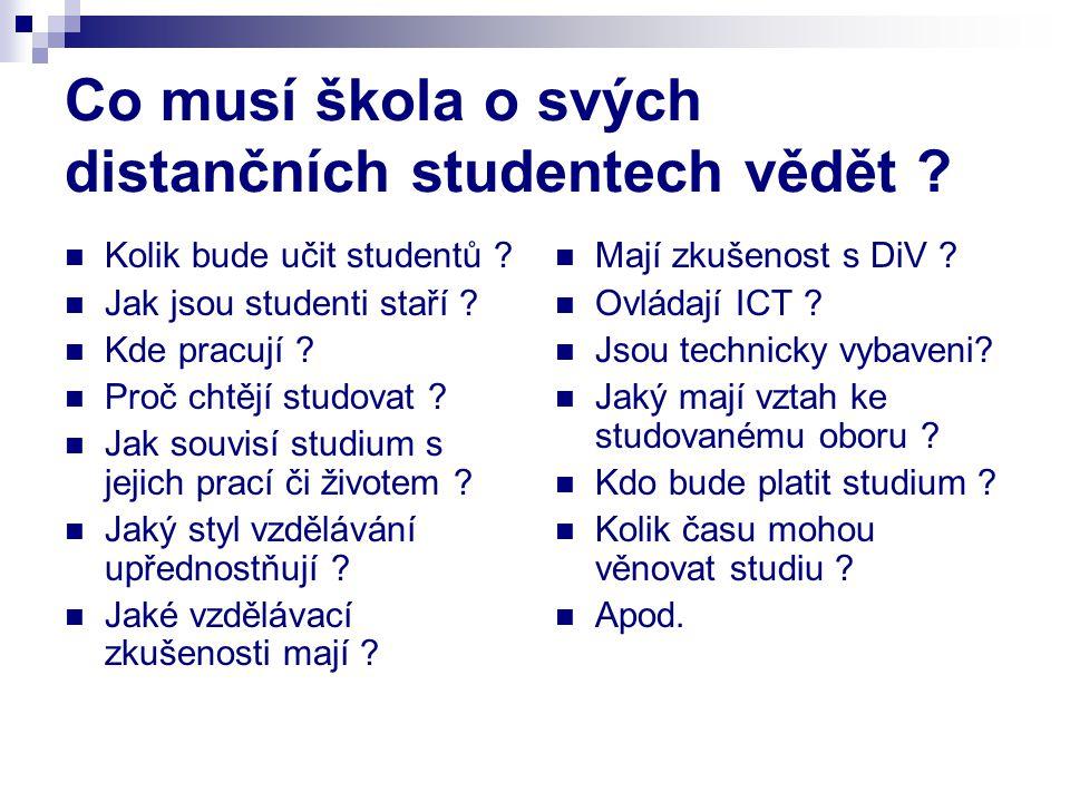 Co musí škola o svých distančních studentech vědět ? Kolik bude učit studentů ? Jak jsou studenti staří ? Kde pracují ? Proč chtějí studovat ? Jak sou