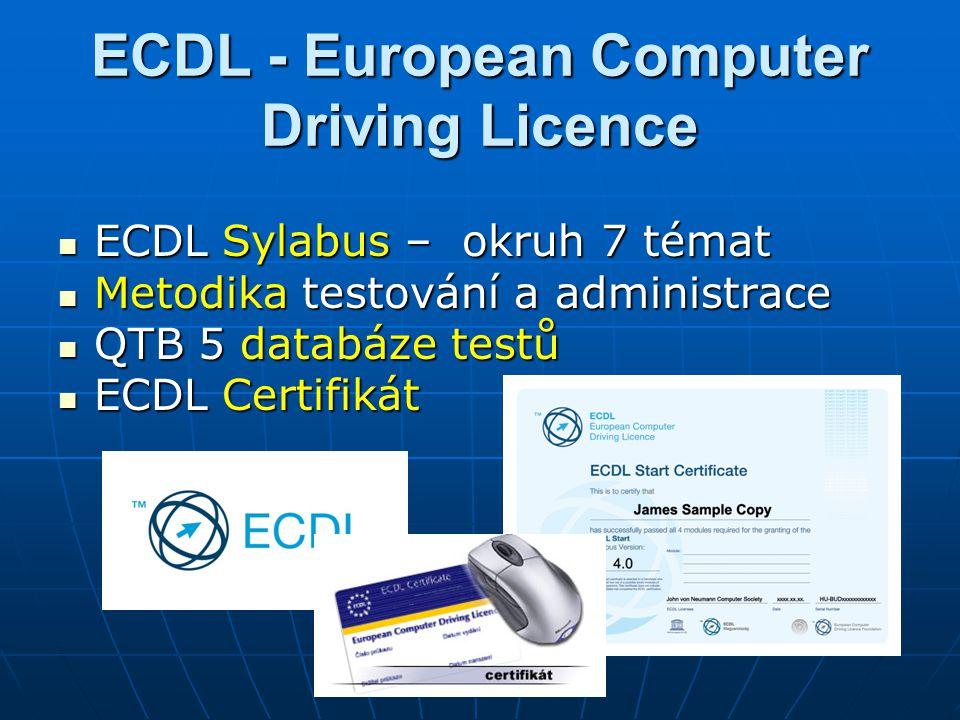 ECDL - European Computer Driving Licence ECDL Sylabus – okruh 7 témat ECDL Sylabus – okruh 7 témat Metodika testování a administrace Metodika testování a administrace QTB 5 databáze testů QTB 5 databáze testů ECDL Certifikát ECDL Certifikát