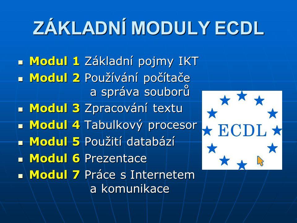 ZÁKLADNÍ MODULY ECDL Modul 1 Základní pojmy IKT Modul 1 Základní pojmy IKT Modul 2 Používání počítače a správa souborů Modul 2 Používání počítače a sp