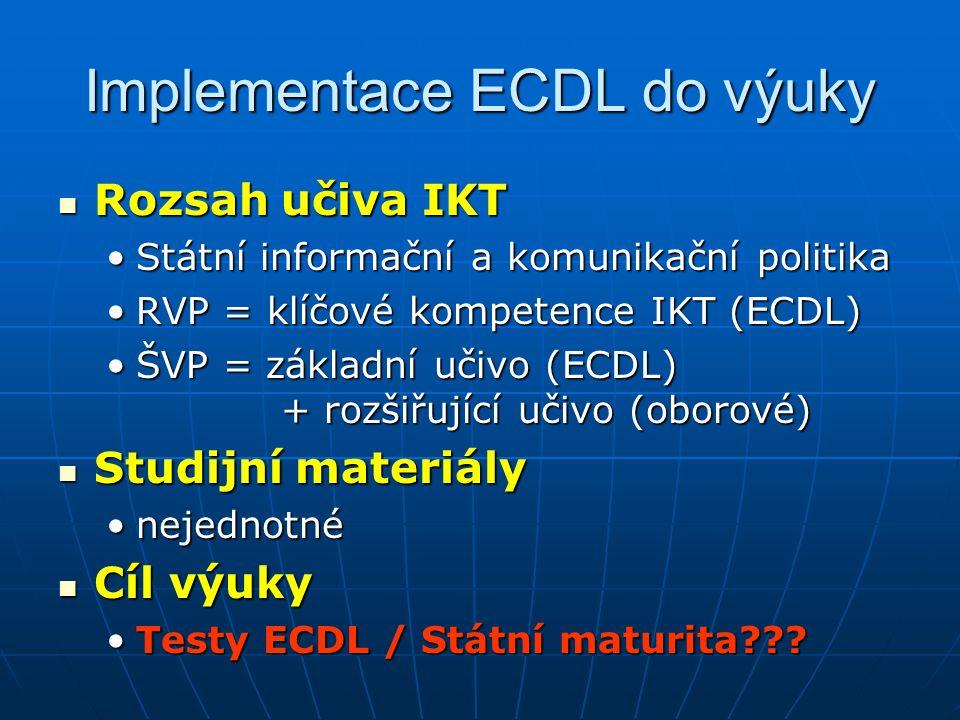 Implementace ECDL do výuky Rozsah učiva IKT Rozsah učiva IKT Státní informační a komunikační politikaStátní informační a komunikační politika RVP = kl