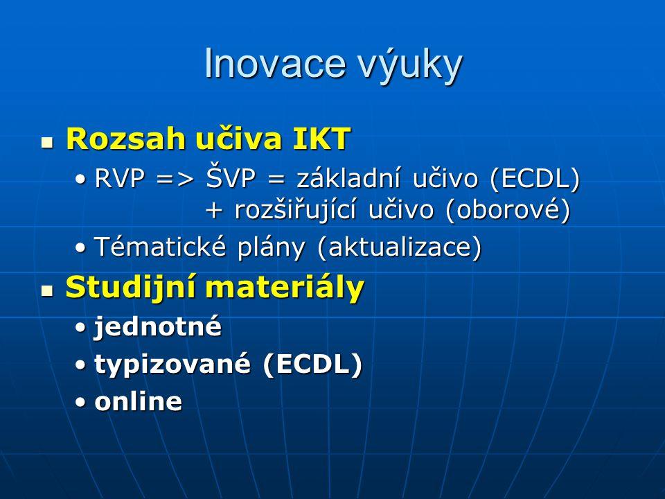 Inovace výuky Rozsah učiva IKT Rozsah učiva IKT RVP => ŠVP = základní učivo (ECDL) + rozšiřující učivo (oborové)RVP => ŠVP = základní učivo (ECDL) + rozšiřující učivo (oborové) Tématické plány (aktualizace)Tématické plány (aktualizace) Studijní materiály Studijní materiály jednotnéjednotné typizované (ECDL)typizované (ECDL) onlineonline