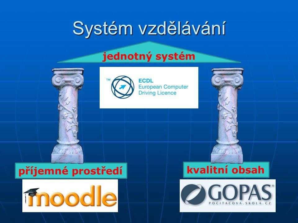Systém vzdělávání příjemné prostředí kvalitní obsah jednotný systém