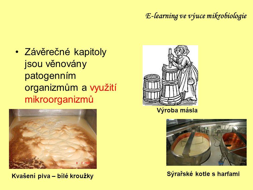 E-learning ve výuce mikrobiologie Závěrečné kapitoly jsou věnovány patogenním organizmům a využití mikroorganizmů Výroba másla Sýrařské kotle s harfam