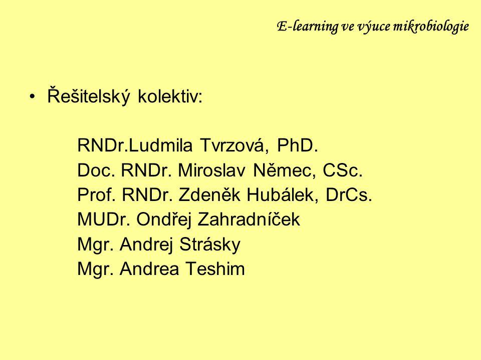 E-learning ve výuce mikrobiologie Řešitelský kolektiv: RNDr.Ludmila Tvrzová, PhD. Doc. RNDr. Miroslav Němec, CSc. Prof. RNDr. Zdeněk Hubálek, DrCs. MU