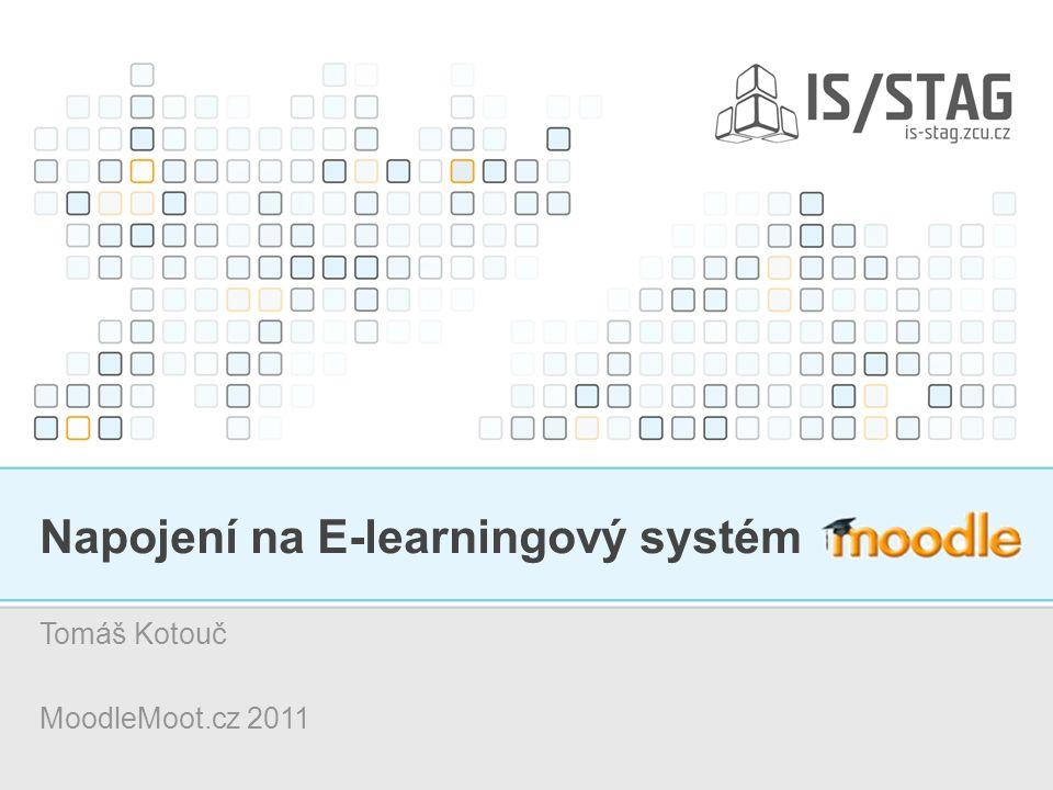 12 Napojení IS/STAG na E-learningový systém MOODLE – MoodleMoot.cz 2011 Realizace propojení Propojení je možné: – pomocí formuláře EL0099 (již asi 6 let) – nebo pomocí WebServices (nyní připravované řešení).