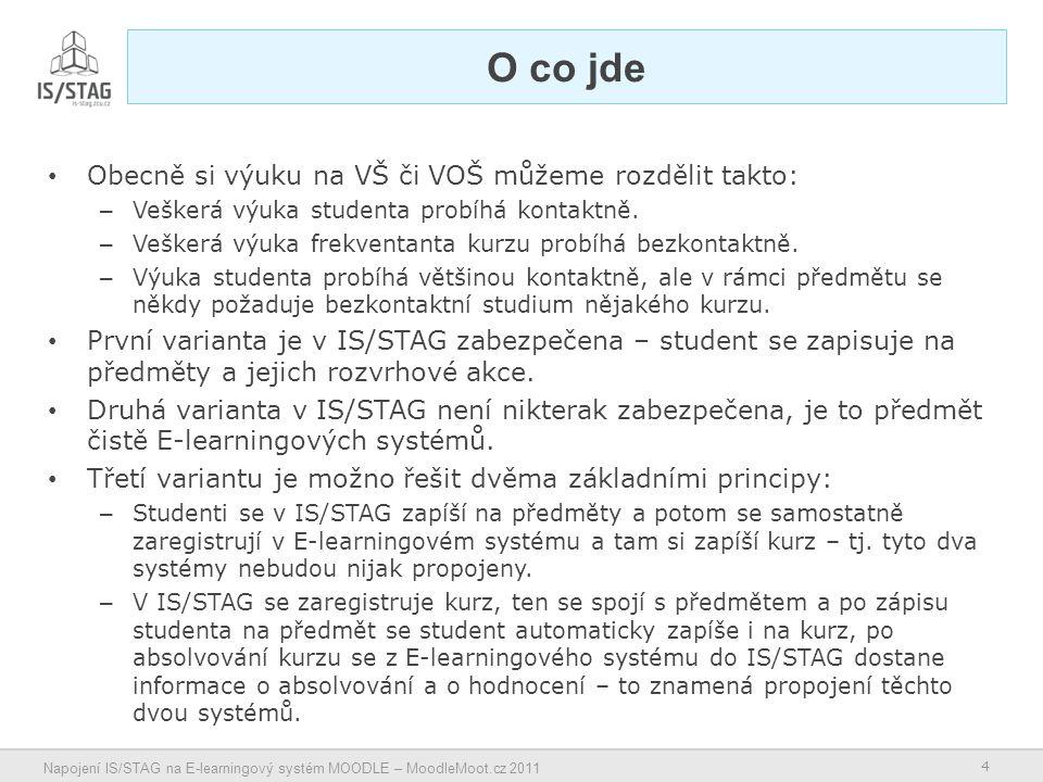 4 Napojení IS/STAG na E-learningový systém MOODLE – MoodleMoot.cz 2011 O co jde Obecně si výuku na VŠ či VOŠ můžeme rozdělit takto: – Veškerá výuka studenta probíhá kontaktně.