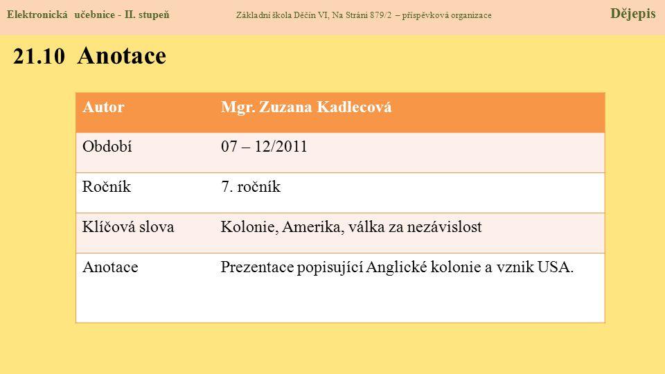 AutorMgr. Zuzana Kadlecová Období07 – 12/2011 Ročník7. ročník Klíčová slovaKolonie, Amerika, válka za nezávislost AnotacePrezentace popisující Anglick