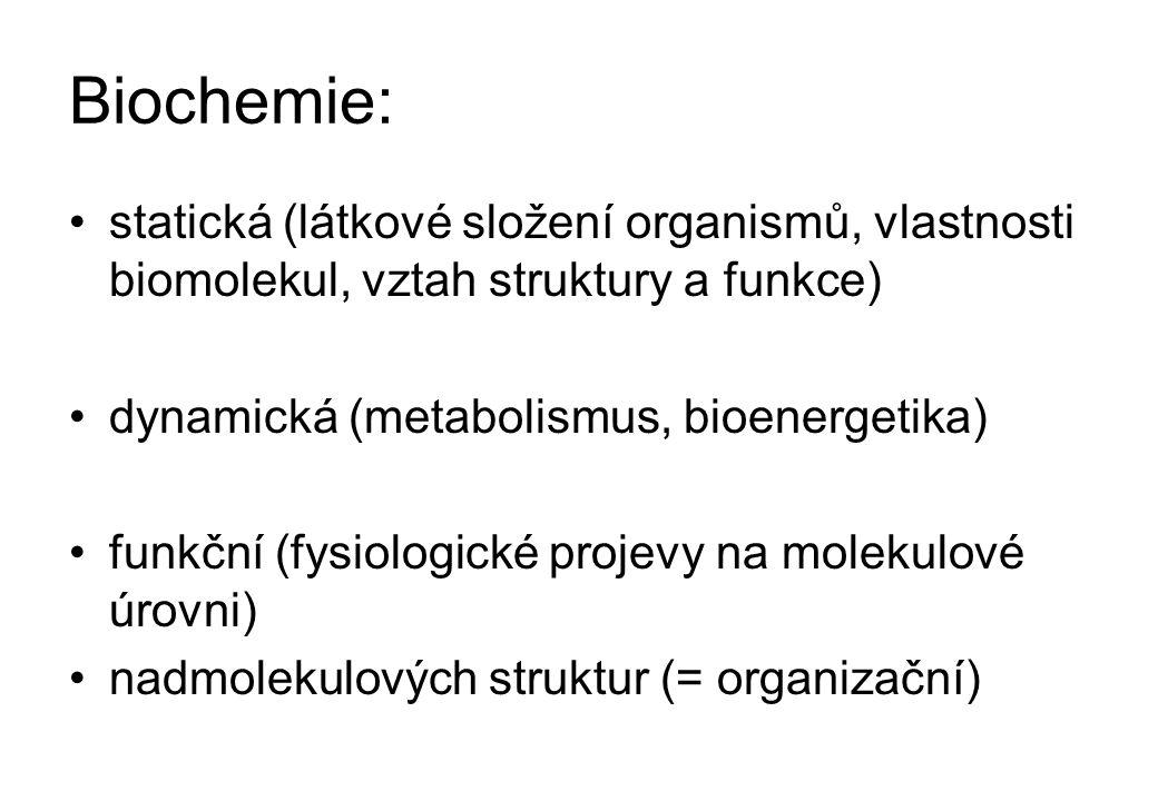S biochemií úzce souvisí: Molekulová genetika (molekulová biologie, molekulová fysiologie) Proteomika Enzymologie Klinická biochemie Bioorganická chemie Biofysikální chemie Xenobiochemie (farmakobiochemie) Biotechnologie