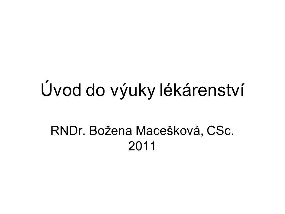 Úvod do výuky lékárenství RNDr. Božena Macešková, CSc. 2011