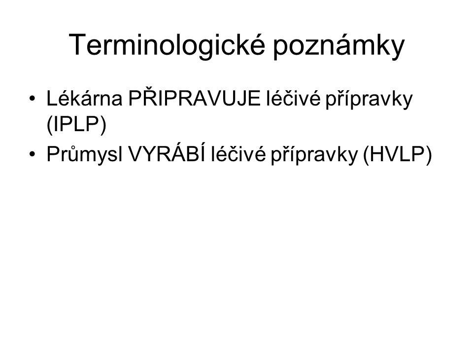 Terminologické poznámky Lékárna PŘIPRAVUJE léčivé přípravky (IPLP) Průmysl VYRÁBÍ léčivé přípravky (HVLP)