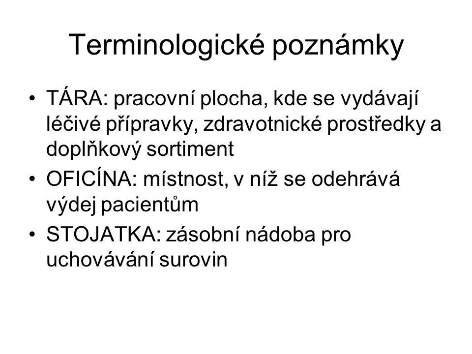 Terminologické poznámky TÁRA: pracovní plocha, kde se vydávají léčivé přípravky, zdravotnické prostředky a doplňkový sortiment OFICÍNA: místnost, v ní