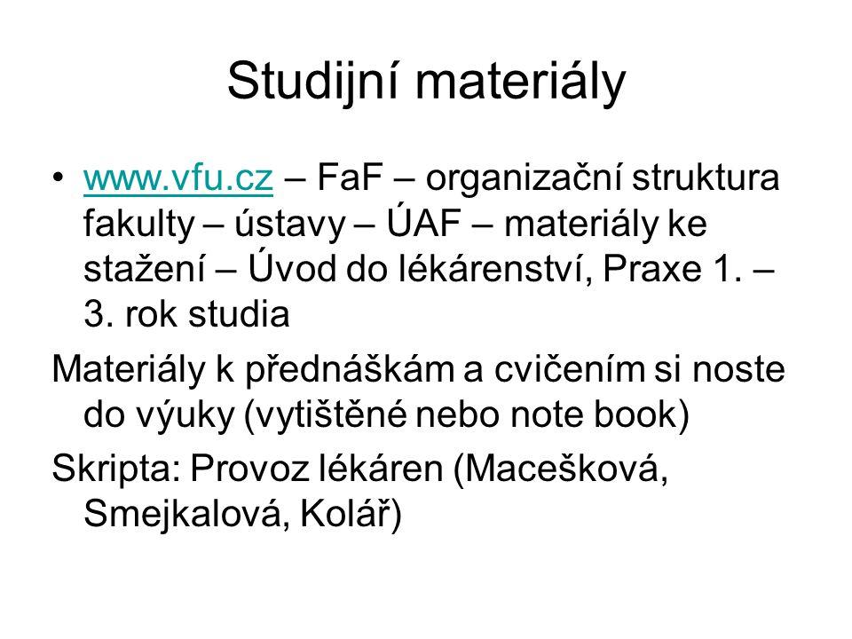 Studijní materiály www.vfu.cz – FaF – organizační struktura fakulty – ústavy – ÚAF – materiály ke stažení – Úvod do lékárenství, Praxe 1. – 3. rok stu