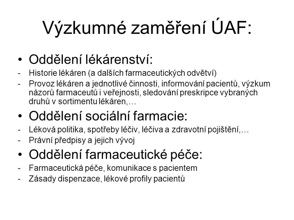 Studijní materiály www.vfu.cz – FaF – organizační struktura fakulty – ústavy – ÚAF – materiály ke stažení – Úvod do lékárenství, Praxe 1.
