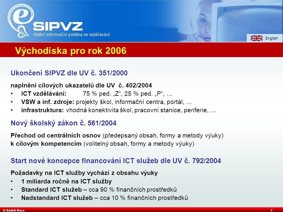 © Radek Maca7 Východiska pro rok 2006 Ukončení SIPVZ dle UV č.