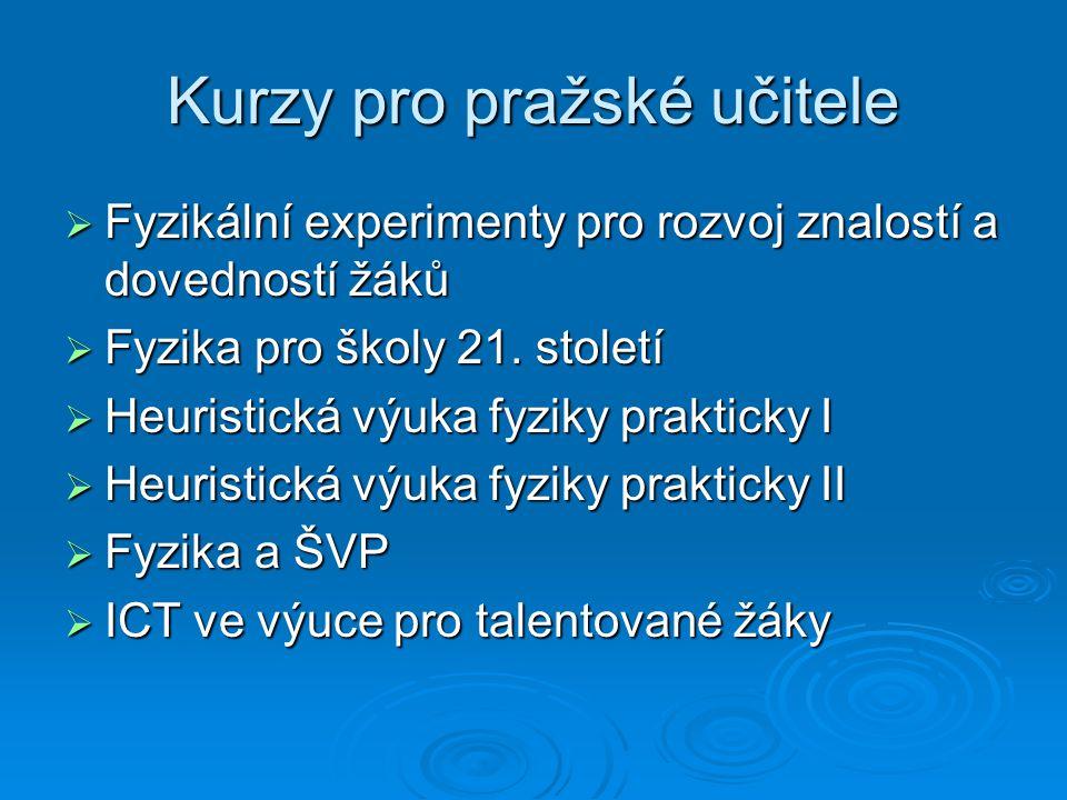 Kurzy pro pražské učitele  Fyzikální experimenty pro rozvoj znalostí a dovedností žáků  Fyzika pro školy 21.