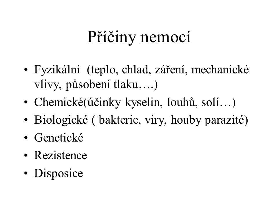 Příčiny nemocí Fyzikální (teplo, chlad, záření, mechanické vlivy, působení tlaku….) Chemické(účinky kyselin, louhů, solí…) Biologické ( bakterie, viry, houby parazité) Genetické Rezistence Disposice