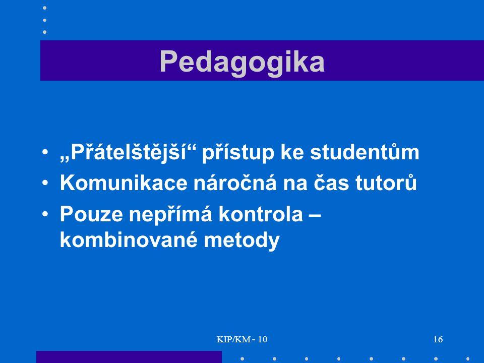 """KIP/KM - 1016 Pedagogika """"Přátelštější přístup ke studentům Komunikace náročná na čas tutorů Pouze nepřímá kontrola – kombinované metody"""
