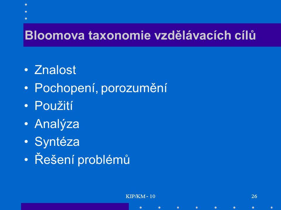 KIP/KM - 1026 Bloomova taxonomie vzdělávacích cílů Znalost Pochopení, porozumění Použití Analýza Syntéza Řešení problémů