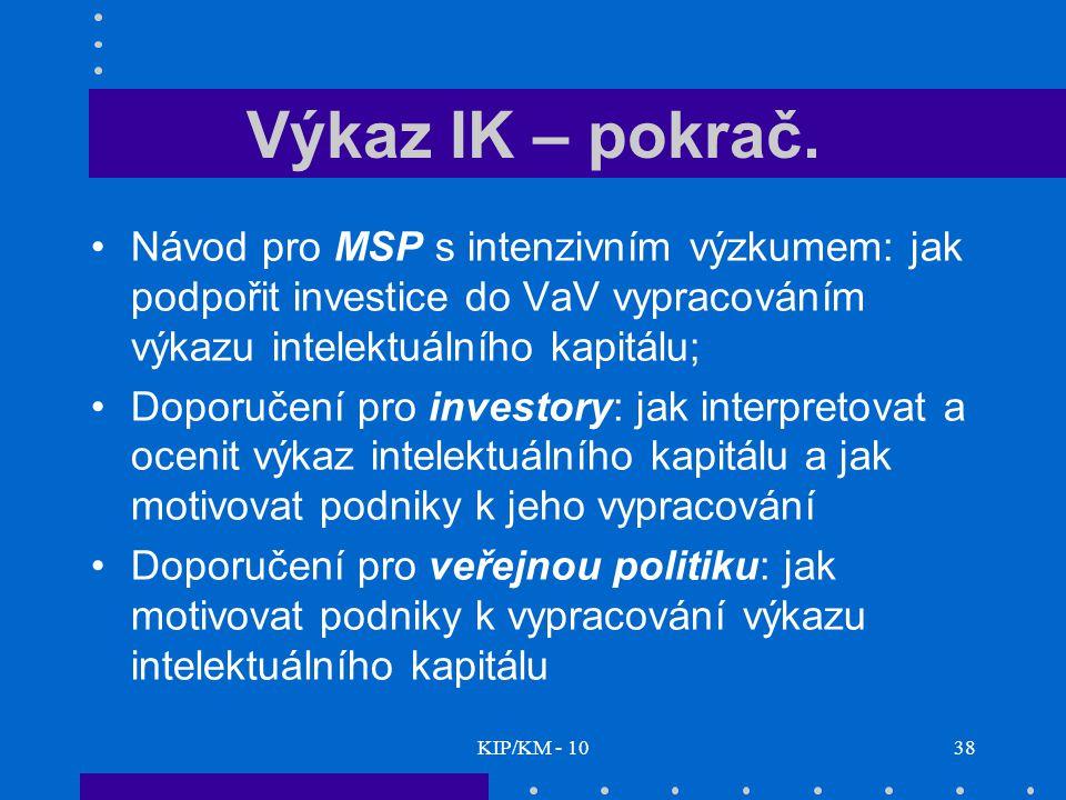 KIP/KM - 1038 Výkaz IK – pokrač.