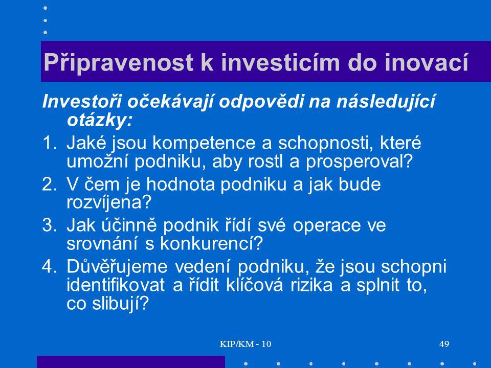KIP/KM - 1049 Připravenost k investicím do inovací Investoři očekávají odpovědi na následující otázky: 1.Jaké jsou kompetence a schopnosti, které umožní podniku, aby rostl a prosperoval.