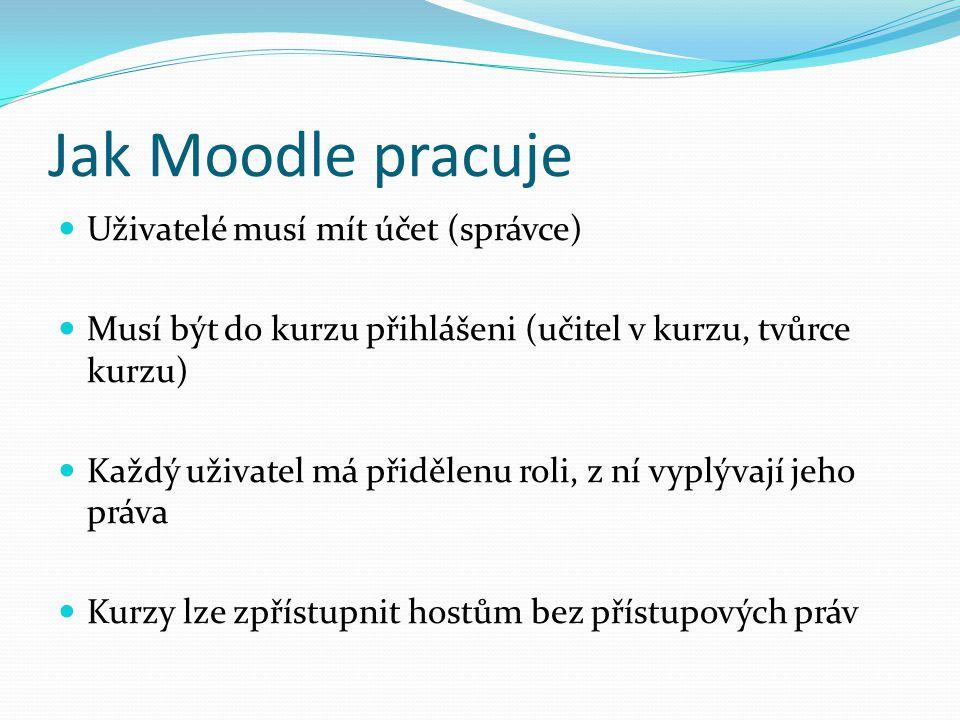 Jak Moodle pracuje Uživatelé musí mít účet (správce) Musí být do kurzu přihlášeni (učitel v kurzu, tvůrce kurzu) Každý uživatel má přidělenu roli, z ní vyplývají jeho práva Kurzy lze zpřístupnit hostům bez přístupových práv
