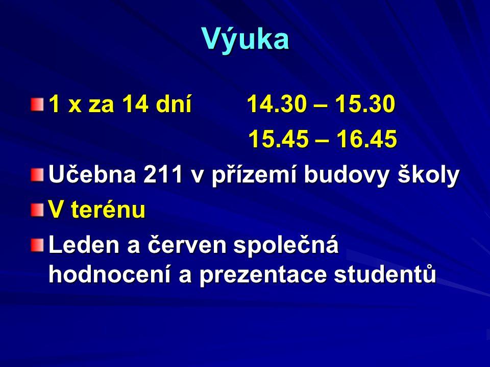 Výuka 1 x za 14 dní 14.30 – 15.30 15.45 – 16.45 15.45 – 16.45 Učebna 211 v přízemí budovy školy V terénu Leden a červen společná hodnocení a prezentace studentů