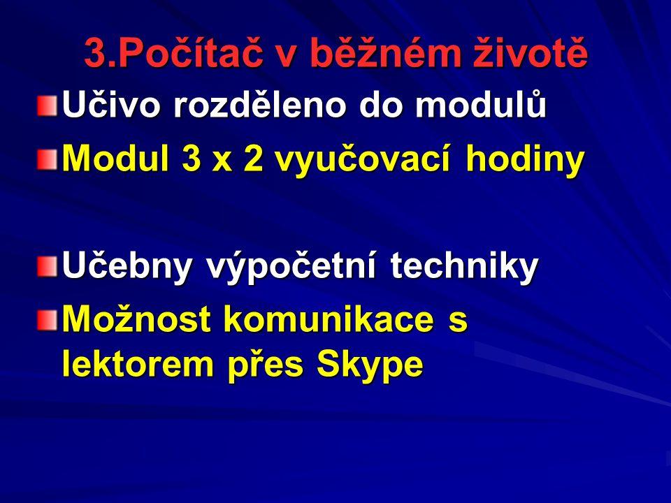 3.Počítač v běžném životě Učivo rozděleno do modulů Modul 3 x 2 vyučovací hodiny Učebny výpočetní techniky Možnost komunikace s lektorem přes Skype