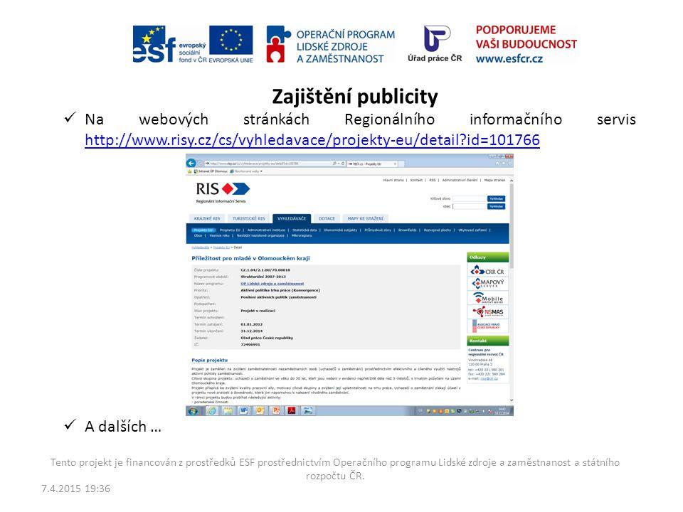 7.4.2015 19:38 Tento projekt je financován z prostředků ESF prostřednictvím Operačního programu Lidské zdroje a zaměstnanost a státního rozpočtu ČR. Z