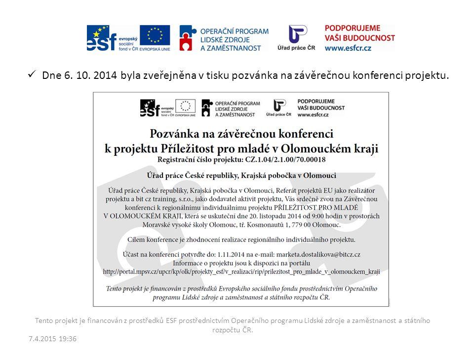 7.4.2015 19:38 Tento projekt je financován z prostředků ESF prostřednictvím Operačního programu Lidské zdroje a zaměstnanost a státního rozpočtu ČR. D