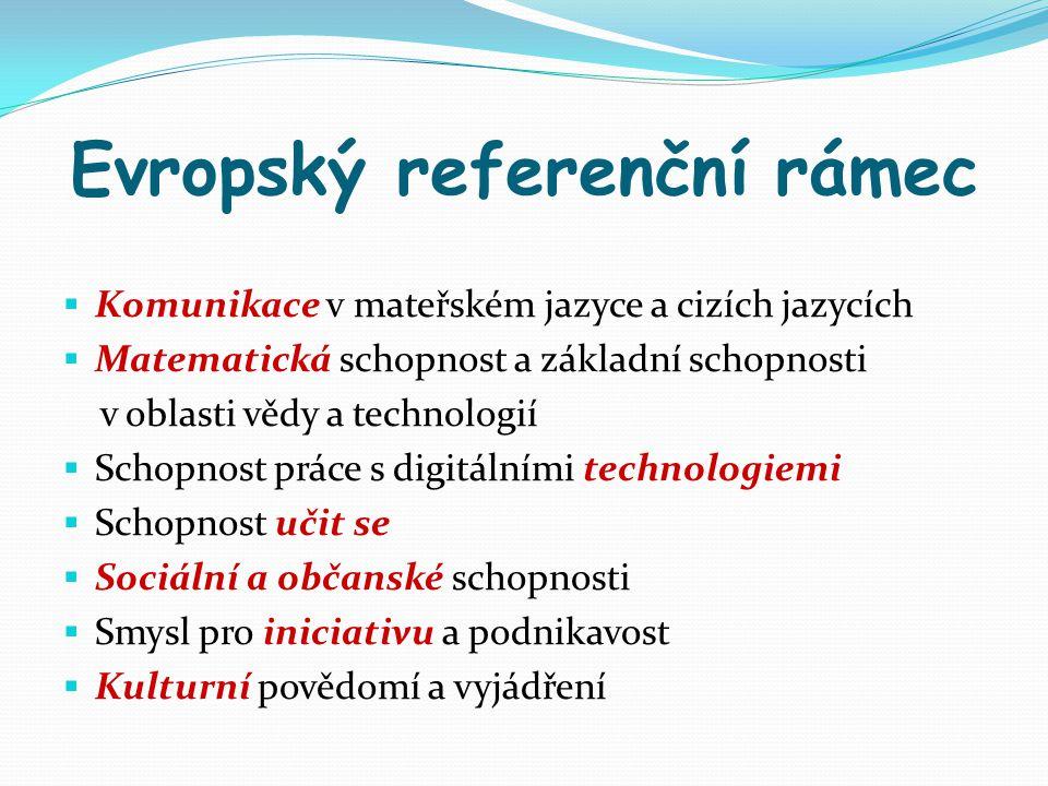 Evropský referenční rámec  Komunikace v mateřském jazyce a cizích jazycích  Matematická schopnost a základní schopnosti v oblasti vědy a technologií