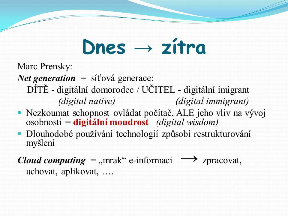 Dnes → zítra Marc Prensky: Net generation = síťová generace: DÍTĚ - digitální domorodec / UČITEL - digitální imigrant (digital native) (digital immigr