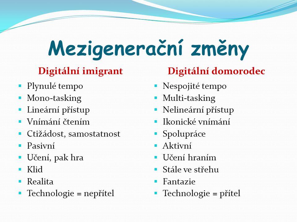 Mezigenerační změny Digitální imigrant Digitální domorodec  Plynulé tempo  Mono-tasking  Lineární přístup  Vnímání čtením  Ctižádost, samostatnos