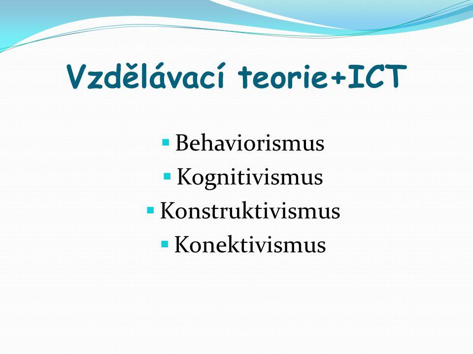 Vzdělávací teorie+ICT  Behaviorismus  Kognitivismus  Konstruktivismus  Konektivismus