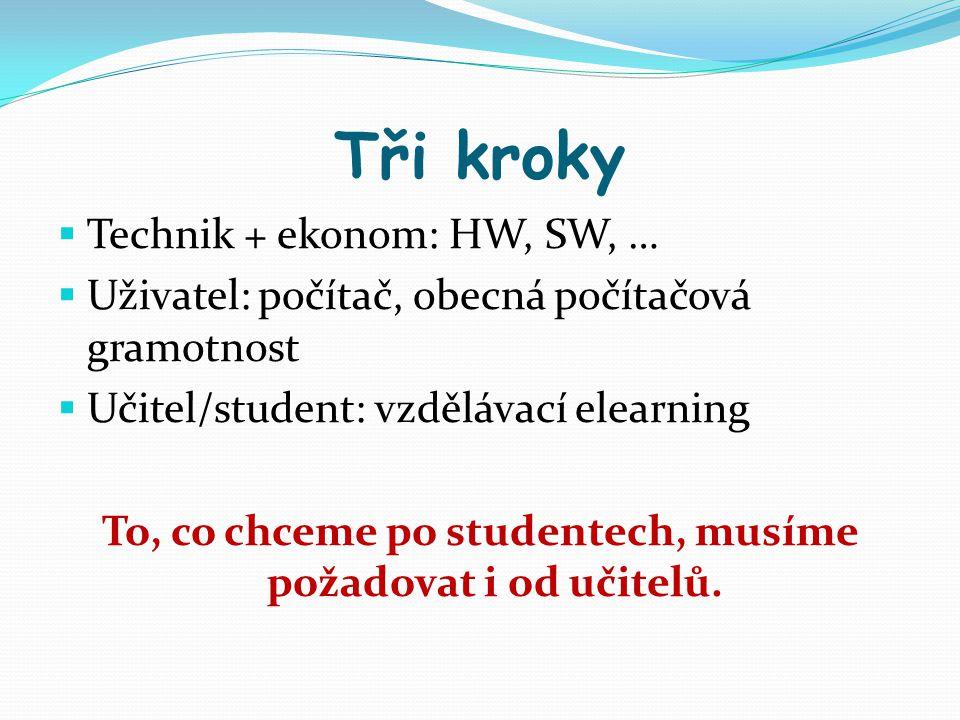 Tři kroky  Technik + ekonom: HW, SW, …  Uživatel: počítač, obecná počítačová gramotnost  Učitel/student: vzdělávací elearning To, co chceme po stud